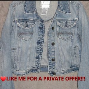 Womens distressed jean jacket size juniors large